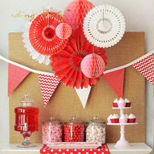 iDing Red Paper Fan & Honeycomb Balls Set for Wedding Birthday Party Paper Party Backdrops for Wall Party Decorations ZSLH035