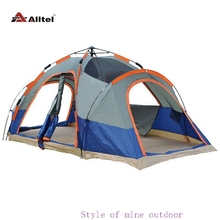Full automatic tent large outdoor double layer free building fast open two rooms 4-6-8 camping and leisure supplies(China)