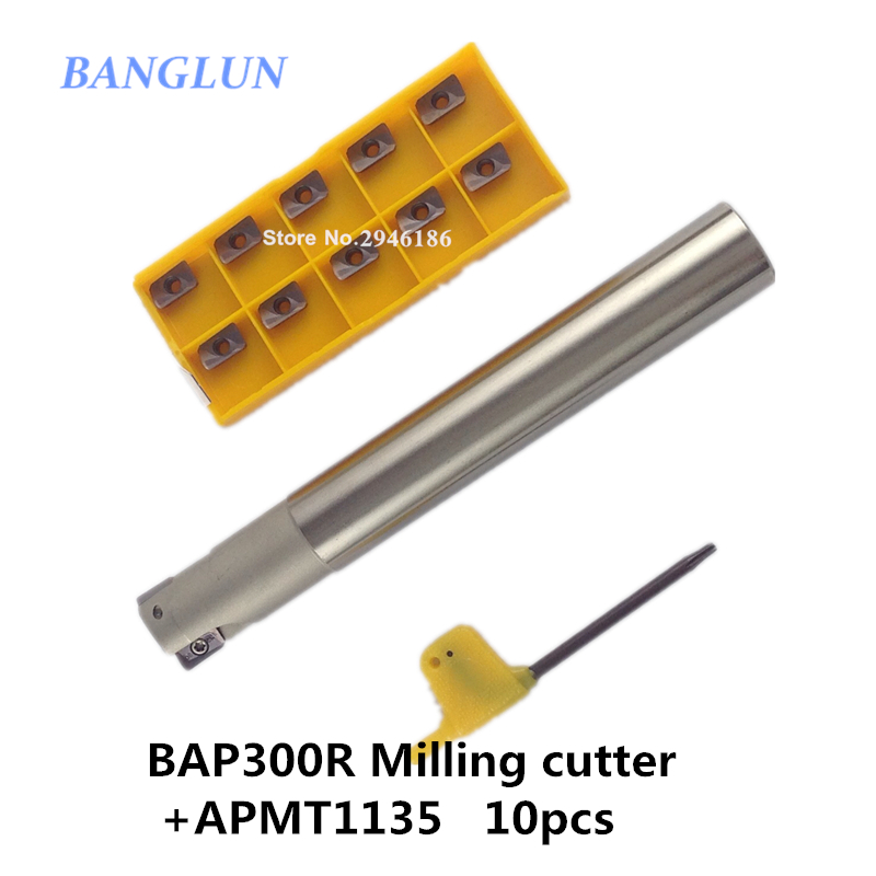 BAP300R C16-16-200 1 flutes CNC Milling Cutter bar 1pcs + 10pcs APMT1135 H2 VP15TF CNC Carbide insert Free shipping<br>