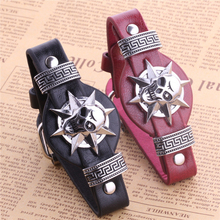 Head Shot! CS GO Leather Band Men Bracelet Red Black Bleach Skeleton Bangle Armband Cs Headshot Bracelet Jewelry for men(China)