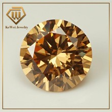 Big Size AAAAA 7mm~14mm 9mm 10mm 11m Champagne Color Round Loose Cubic Zirconia CZ Stone European Machine Cut Synthetic Gemstone