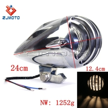 H4 12V 55/60W High Low Beam 4 3/4 inch Headlight Finned Billet Grille Chopper Cruiser Motorcycle Headlamps