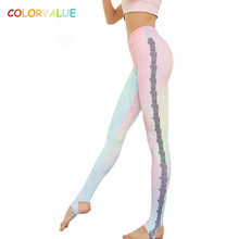 Buy Colorvalue Beautiful Lace Printed Yoga Pants Women High Stretchy Fitness Dance Foot Tights Sexy Mesh Sport Athletic Leggings for $19.03 in AliExpress store
