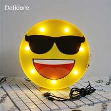 DELICORE 2017 Novelty Sunglasses Face Night Light Cool emoji Childrens Bedroom Nursery Mini Night Lamp For Room Wall Decor S179