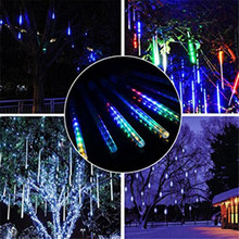 2 Set 30CM 10 Tubes Meteor Shower LED Christmas Lights for Wedding Party Xmas Tree Indoor Outdoor Decoration DC12V(China)