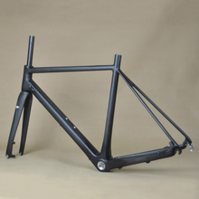 Disc Brake 700C Road Bike Full Carbon Frameset Frame With Seatpost And Fork Bicycle UD Matte 60CM BSA FM166(China)