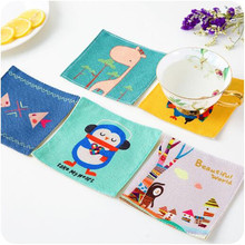 New Cotton and linen monkey giraffe owl Cup Coaster Place Mat pads Drinks Coasters Minions Creative Decor Tea Cup Holder A313