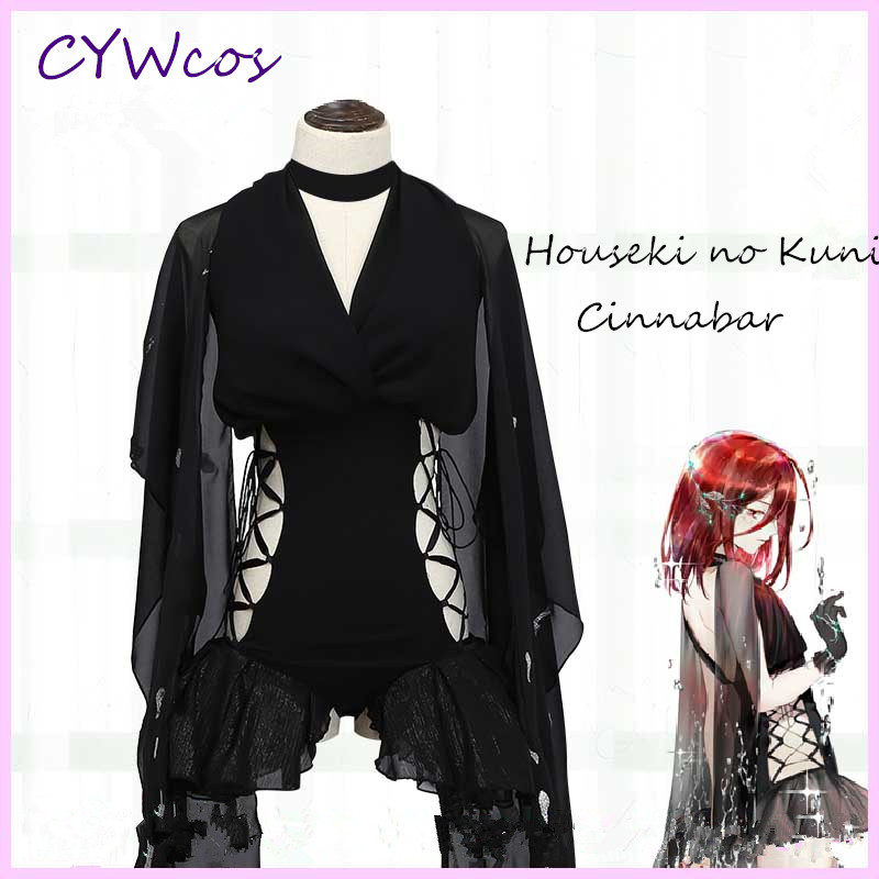 Anime Houseki no Kuni Cinnabar Cosplay Costume Women Summer Dress Black Gauze Uniforms Halloween Dress+Gloves+Headdress