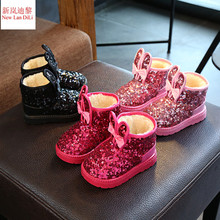 2017 New Children Snow Boots Rabbit Warm Winter Boots Fashion Plush Baby Shoes Water-Proof Sneakers Girls Boys Martin Boots(China)