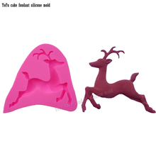 Christmas decorations 3D deer Silicone Molds Cake Mold Baking Tools handmade soap mould cake pop recipe T0819(China)