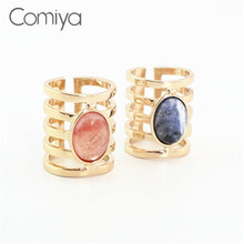 Comiya Fashion Wide Zinc Alloy Oval Stones Rings For Lady Pendientes Mujer Authentic Retro Jordans Bijuteria Wholesale Ring Gift(China)