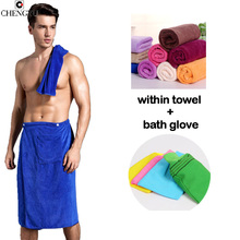 Man Wearing Cotton Bath Towel Bath Brushes Gloves Cotton Pocket Soft Wrap Beach Towels Pocket Creative Bath Skirt Solid