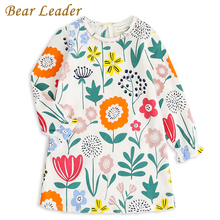 Bear Leader Girls Dress 2017 New Autumn Preppy Style Dress Cute  Floral Pattern O-neck Design Girls Casual Dress For 2-10 Years