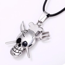 Dropshipping Antique Silver Skull Necklace Jewelry One Piece Necklace Anime Pendant Necklace Collier Men Jewelry