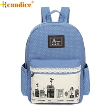 Hcandice Hot Selling Fashional Women Double-Shoulder Sweet Canvas Backpack Girl Schoolbag Best Gift ping Jan5