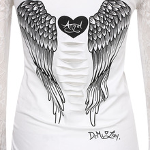 Fashion Women's T shirt Back Hollow Angel Wings T-shirt Tops Summer Style Woman Lace Full Sleeve Tops T shirts Clothing