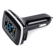 Profession Universal Car TPMS 4 External Sensor 12V With USB LCD Display Auto Wireless Car Tire Pressure Monitoring System