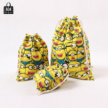 Animated cartoon print 100%cotton canvas bag Clothes socks/underwear shoes receive cloth bag home Sundry kids toy storage bags