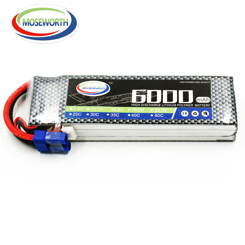MOSEWORTH 2S RC Lipo Battery 7.4v 25C 6000mAh For RC Aircraft Car Boat Drones Helicopter Quadcopter Airplane Li-ion Battery 2S<br>