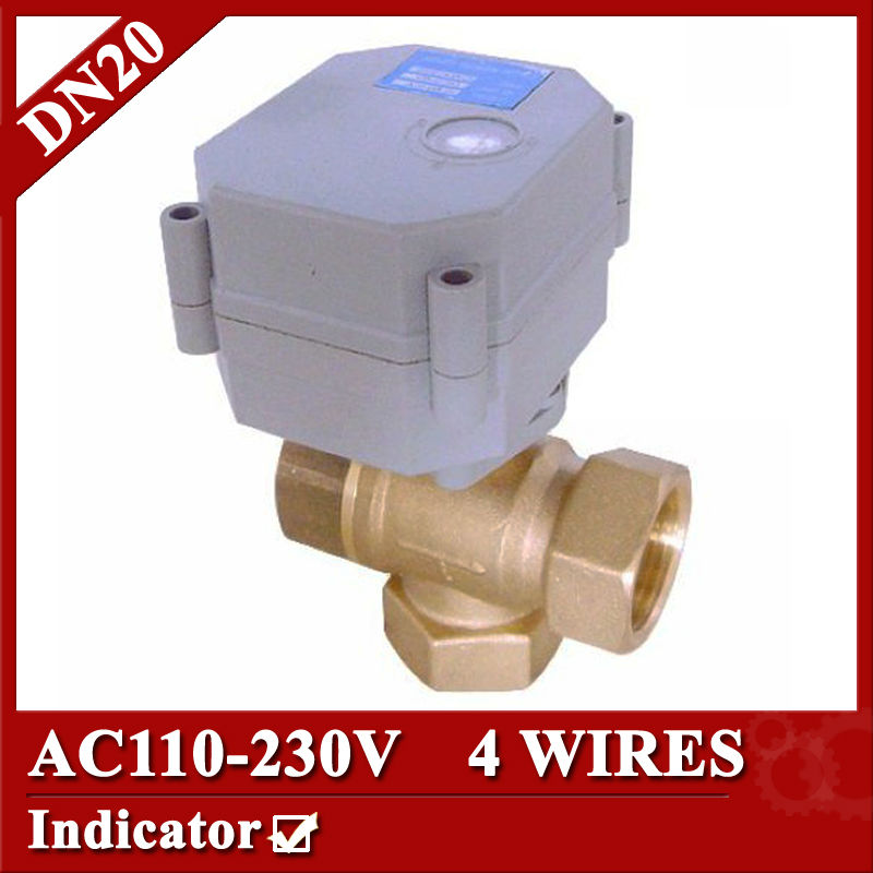 3/4 3 way T type Electric motor valve,AC110-230V DN20 Mini Electric Motorized valve 4 Wires (CR4 01), with indicator<br><br>Aliexpress
