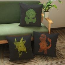 Pikachu Cushion Cover Pocket Monster Anime Charmander Sofa Seat Throw Pillow Cover Retro Vintage Black Pillow Case Home Decor