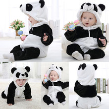Newborn Baby Clothes Baby Rompers Infantil Boys Girls Panda Cartoon Hooded Rompers Outfits Clothes Baby Clothing Dropshipping(China)