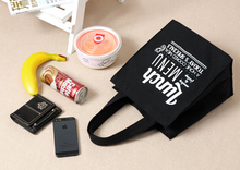 Black cotton canvas lunch bag  small bag lunch box snack pack