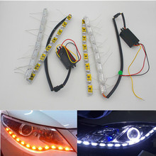Car Flexible Switchback LED Knight Rider Strip Light for Headlight Sequential Flasher DRL Flowing Amber Turn Signal Lights 2pcs