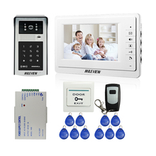 "MILEVIEW Wired 7"" Video Door Phone Doorbell Intercom Entry System + Outdoor IR RFID Code Keypad Camera + Remote FREE SHIPPING(China)"