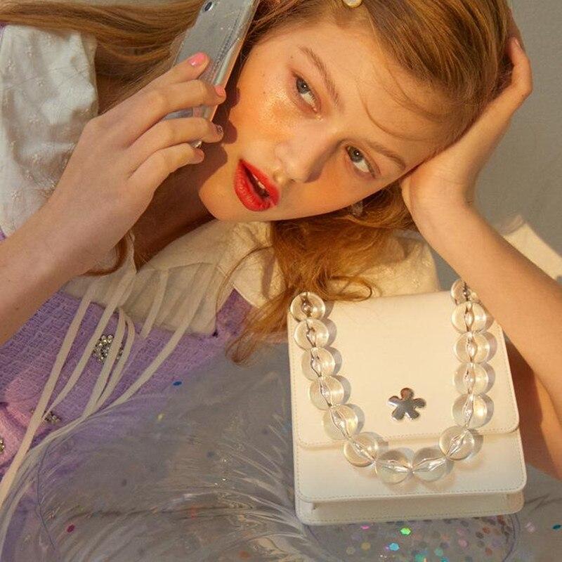 Transparent Acrylic Beads Handbags Women 2019 Summer New Simple Solid Beading Handle Shoulder Bag White Waist bag Female Casual