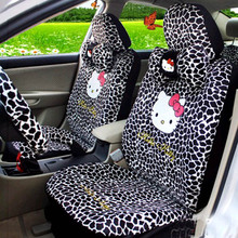 18PCS Cartoon universal Hello Kitty Car Seat Covers Black Giraffe Pattern car-styling Universal Car interior Accessories