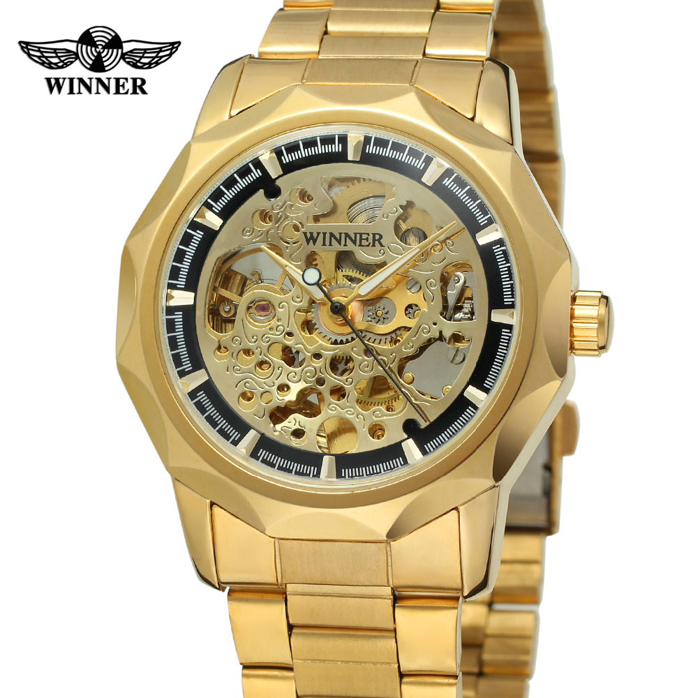 Winner Mens Watch Branded Waterproof Wristwatch Skeleton Autoamtic Stainless Steel Bracelet Gold Color WRG8033M4<br>
