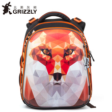 GRIZZLY New Fashion Girls Students Cartoon School Bags Orthopedic Waterproof Primary School Backpacks for Children Grade 1-4(China)