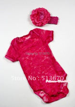 Hot Pink See Through Baby Jumpsuit with Hot Pink Headband & Hot Pink Peony MATH272
