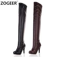 Plus Size 34-45 Hot Spring Autumn Women Boots Sexy High Heel Over the knee Soft pu Leather Black White Fashion Thigh High Boots