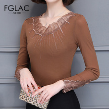 Buy FGLAC Women t-shirt New Arrivals 2017 Autumn long sleeved Mesh tops Elegant Slim Thin women tops plus size women clothing for $12.02 in AliExpress store