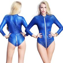 Buy 2018 Sexy Faux Leather Bodysuit Women Long Sleeve Zipper Front Outfit Erotic Lingerie Open Bust Latex Catsuit Stripper Clubwear