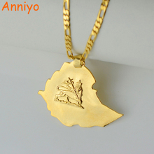 Anniye Ethiopian Map Pendant Necklaces Chain Women Men Gold Color Jewelry Africa Ethiopia lion Necklace Maps #004201(China)