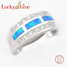Promotion Unique Blue White Fire Opal 925 Sterling Silver Rings Family Friend Russia USA Holiday Gift Australia - Lucky Shine Jewelry Manufacturer store