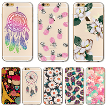 Soft TPU Cover For Apple iPhone 5 5S SE 6 6S 6SPlus 7 7Plus Case Cases Phone Shell Hot Sales Datura Flower Dream Catcher