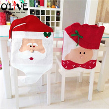 1 Pair Christmas Chair Covers Santa Claus New Year Decorations Xmas Ornaments Home Decor Hats Snowman Merry Christmas Sale