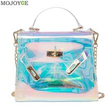 Blue Transparent Handbag Holographic Stachel Lady Purse Clutch Women Chain Messenger Bag Large Capacity Laser Lock Bag Beach Bag(China)