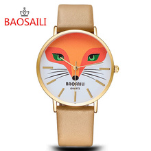 BSL1009 BAOSAILI Fox Animal Gold Plating Girls' Women Wrist Watches For Women With Japan Movt Waterproof Life Case(China)