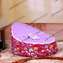 FREE SHIPPING baby seat with 2pcs purple up covers baby bean bag chair kid's bean bag seat cover only bean bag furniture(China)