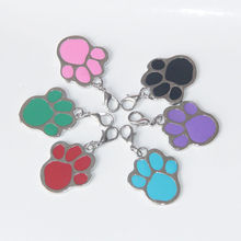 Cute Footprints Pet Dog Cat Stainless Steel Nameplate Identity Card Pet Tag