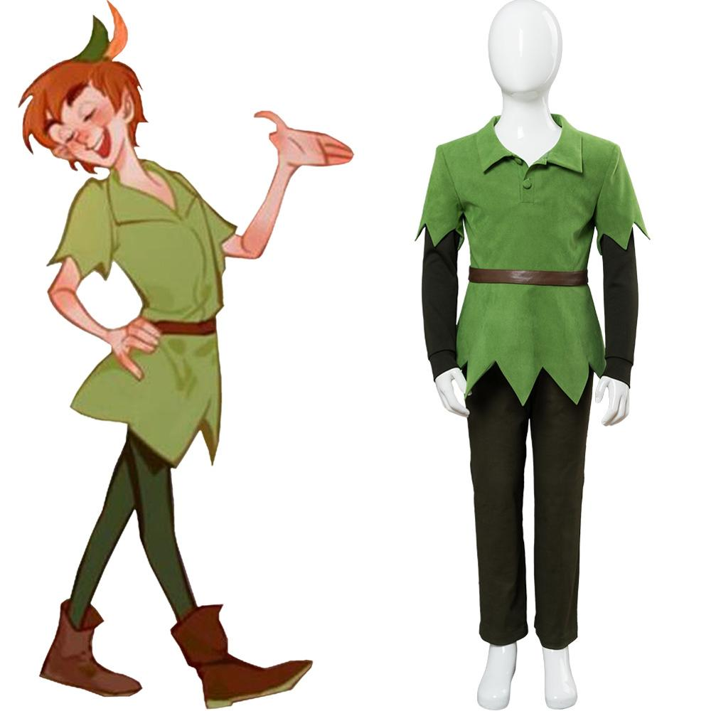 Movie PeterPan Peter Pan Cosplay Costume Kids Children Version Green Top Pants Hat Belt Halloween Carnival Costumes Custom Made