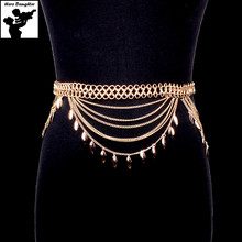 Fashion Gold Tassel Belly Chain Belt for Women Holiday Gift Big Large Chunky Bikini Waist Chain Jewelry 2017 Sexy Luxury Cute