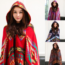 Women's Ethnic Style Geometric Pattern Hooded Cloak Long Cape Shawl Scarf Poncho New Arrival