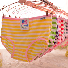 Buy High quality Women's panties 6 pcs/lot new fashion underwear striped lovely briefs plus size knickers girl cotton underpants