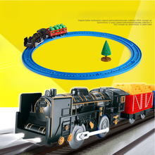 1 Set Mini Classic Electric Train with Tracks Light Building Blocks Diecast Railroad Trains Model Toys for children Gifts(China)
